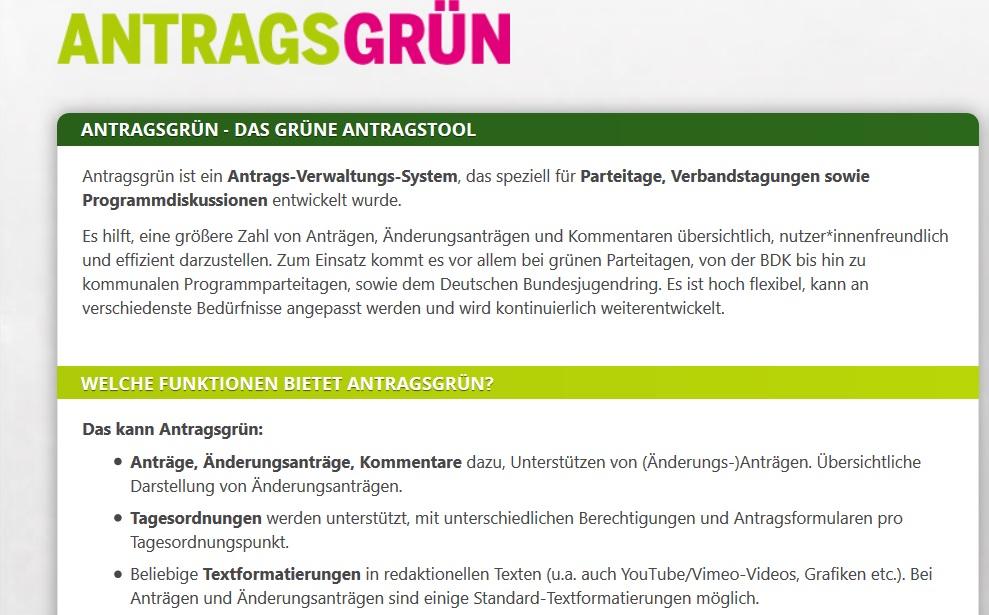Screenshot der Seite antragsgruen.de